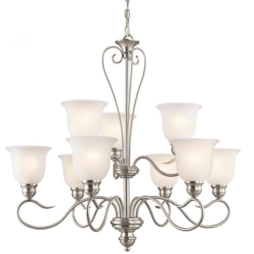 B006QEJ1BI Kichler Lighting 42907NI Tanglewood 9-Light Chandelier, Brushed Nickel Finish with Satin Etched Glass