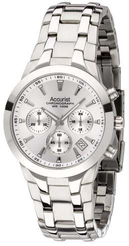 Accurist Men's Quartz Watch with Silver Dial Chronograph Display and Silver Stainless Steel Bracelet MB960S