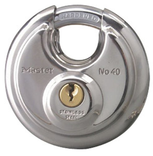 Master Lock 40KADPF Round Padlock with Shielded Shackle, Stainless Steel