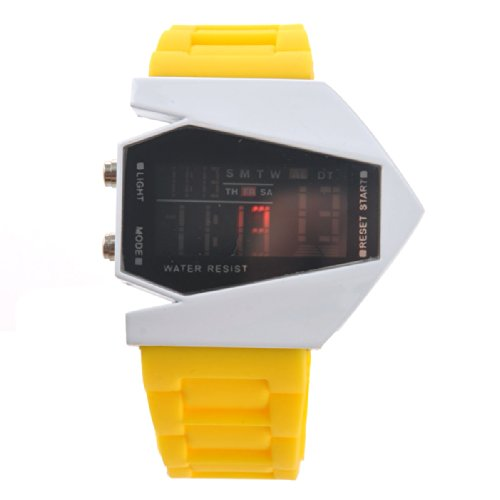 Foxnovo Airplane Shaped Unisex Waterproof Led Digital Sports Watch With Date /Alarm /Stopwatch In A Red Package Box (Yellow)