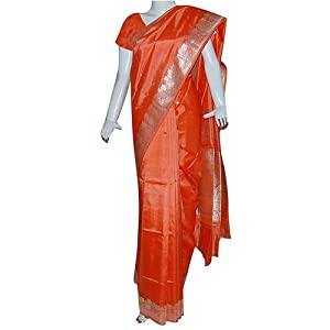 Indian Silk Fashion Orange Saree Party Dress (ossari119)