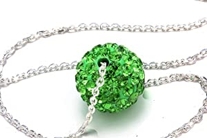 Green Color Crystals Ball Pendant, Includes Sterling Silver 18 Inch Chain, Now At Our Lowest Price Ever but Only for a Limited Time!