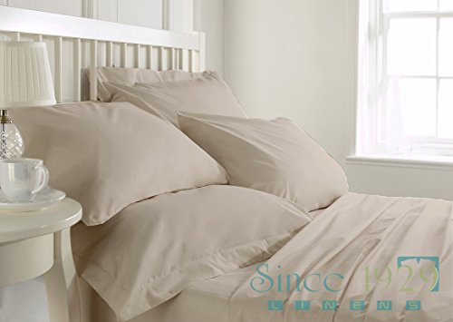 Since1929Linens 29 Inches Deep Pocket 450 TC 100 Percent Egyptian Cotton 4 Pc Twin Extra-Long Size Sheet Set Solid Ivory Color lacasa bedding 600 tc egyptian cotton fitted sheet 20 extra deep pocket italian finish solid full elephant grey