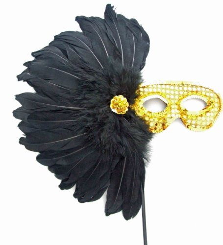 Aztec Princess Wand Feather Mask Halloween Mardi Gras Costume Party