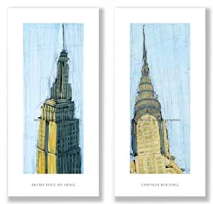 "Chrysler Building and Empire State Building Set by Mark Gleberzon 20""x8"" Art Print Poster"
