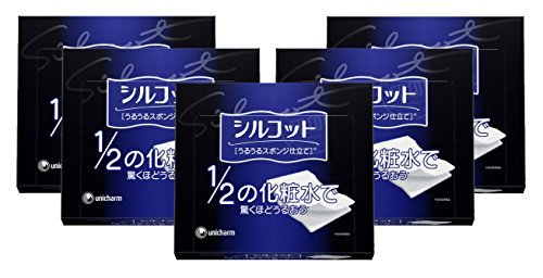 unicharm-silcot-uruuru-sponge-facial-cotton-40-sheets-5-packs