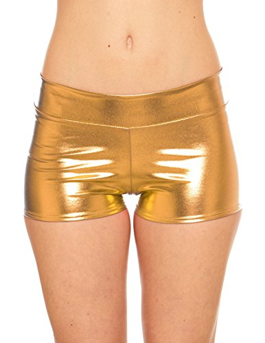 Women's Rave Booty Shorts Mini Hot Pants, Metallic Wet Look, By Red Hanger, Gold-S