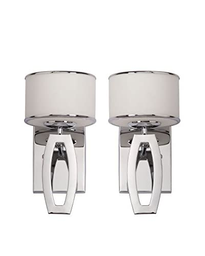 Safavieh Set of 2 Lenora Drum Sconces, Etched White/Chrome