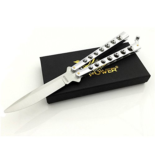 VE POWER Skill Training Practice Knife Trainer Silver (No offensive blade)