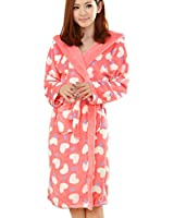 Zicac Ladies Sweet Heart Hooded Long Sleeve Coral Fleece Robe Soft Warm Plush Belted Bathrobe Mothers Day Gift for Her