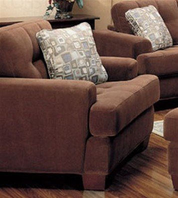 sofa chair button tufted accents terry cloth brown fabric