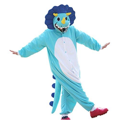 Animal Cosplay Costume Triceratops Onesies Unisex Pajamas Cartoon Sleepwear Size S Blue