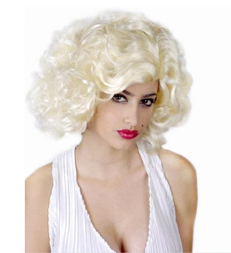 DAYISS Marilyn Monroe Short Hair Full Curly Wave Wigs Costume Party Pale Beige