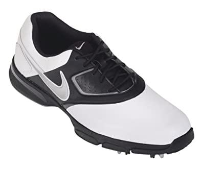 Nike chaussure golf homme Heritage III 2013 sport crampons lacets nouveau - Blanc/Silver/Noir - 41