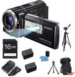 Sony HDR-PJ260V High Definition Handycam 8.9 MP Camcorder with 30x Optical Zoom, 16 GB Embedded Memory and Built-in Projector + 16GB High Speed SDHC Card + High Capacity Battery (Qty 2)+ Rapid AC/DC Charger + Full Sized Tripod + Table Tripod + More!