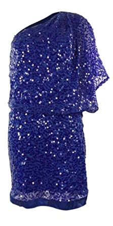 Draped One Shoulder Sequined Blouson Dress (12, Nautical Blue)
