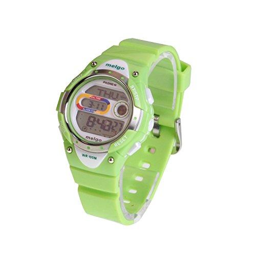 Pasnew Led Waterproof 100M Sports Digital Watch For Children Girls Boys (Green)