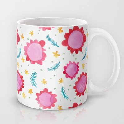 Society6 - Painted Flowers Coffee Mug By Floating Lemons