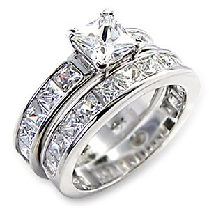 2ct Princess Bridal Wedding Ring Set Platinum plated Cubic Zirconia