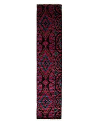 Darya Rugs Ikat Oriental Rug, Black, 2' 7 x 12' 4 Runner
