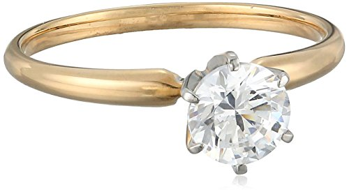 14k Yellow Gold Round-Cut Solitaire Ring, Made with Swarovski Zirconia (1 cttw), Size 7