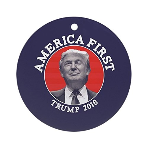 CafePress - America First - Donald Trump - Round Holiday Christmas Ornament