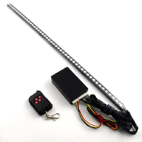 "1 Complete Set 22"" Universal Fit Knight Rider Scanning 7 Color Super Bright 5050 Smd 48 Running Rgb Led Bar Strip Third Brake Light With Wireless Sound Remote Control + Control Module For Under Seat Glove Box Front Lower Center Grille"