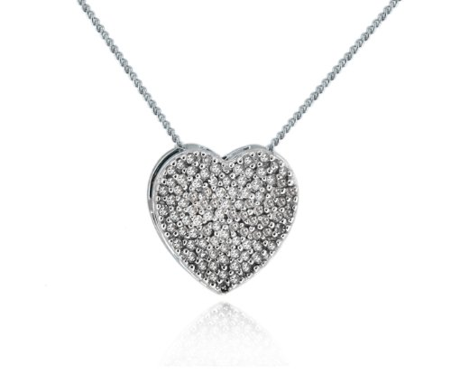 Diamond Pendant Necklace in 9ct White Gold