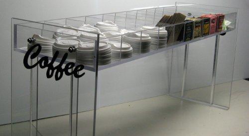 Coffee Counter Condiment Rack C-Store Equipment Organizer Cup Lid Display Tea 11 Slot Dispenser Caddy