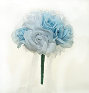 Light Blue and White Silk Rose Toss Bouquet - Lesbian Wedding Bouquet