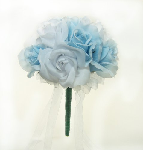 Light Blue and White Silk Rose Toss Bouquet - Wedding Bouquet