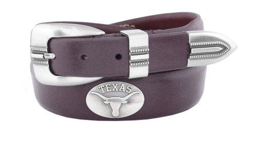 NCAA Texas Longhorns Brown Tip Leather Concho Belt, 38