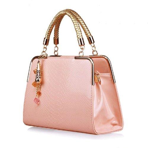 Fashion Luxury Womens Ladies PU Leather Office Messenger Handbag Weekend Leisure Crocodile Stripe Shoulder Bag