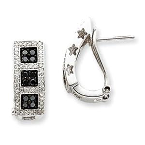 14k Gold White Gold Black & White Diamond Earrings
