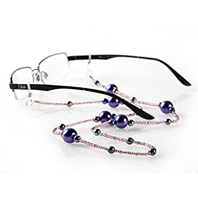 Satellite Eyeglass Leash-Eyeglass Leash Holder for Women, Pink Seed Beads Accompany Iridescent Multi-Color Beads and Larger Purple Beads to Create a Unique Piece You will be Proud to Wear-Lifetime Guarantee