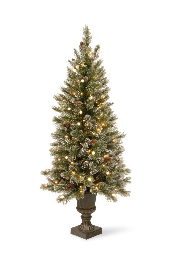 National Tree Company 5-Feet Glittery Bristle Pine Entrance Tree with 150 Soft White LED Lights