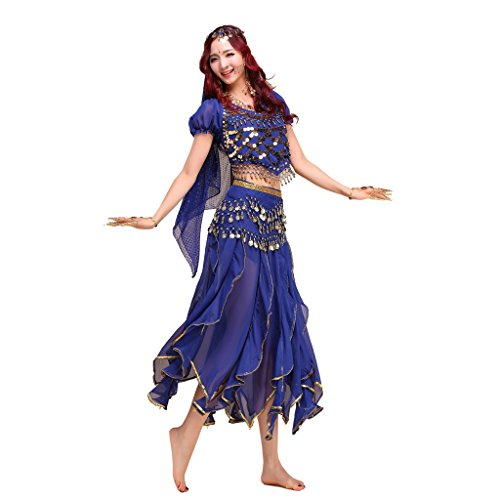 Pilot-trade lady's Belly Dance Costume Shiny Bells Top Phnom Penh suit