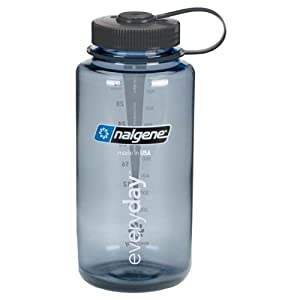 Nalgene BPA Free Tritan Wide Mouth Water Bottle, 32 Oz, Gray with Black Lid