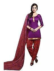 Violet Cotton Floral Print Salwar Kameez Dress Material