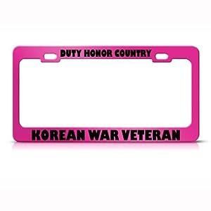 Korean War Veteran Metal Military License Plate Frame Tag Holder