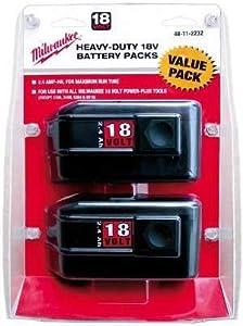Milwaukee 48-11-2232 Value Pack 18-Volt 2.4 Amp Hour NiCad Slide Style Battery, 2 Pack
