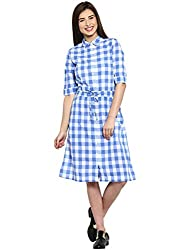 Ladybug Womens 3/4 Sleeve Shirt Dress With Tie Up at Waist