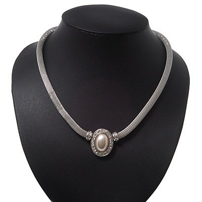 Silver Plated Mesh Choker Necklace With Pearl Stone - 38cm Length