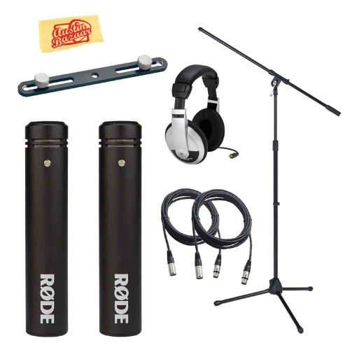 Rode M5 Matched Pair Of Compact 1/2-Inch Condenser Microphones Bundle With Mic Stand, Stereo Bar, Headphones, 2 Mic Cables, 2 Mic Clips, 2 Windscreens, And Polishing Cloth