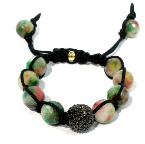 Shamballa Bracelet 14mm Black CZ Pave with 12mm Faceted Candy Jade Genuine Stone Macrame Lock Adjustable Unisex