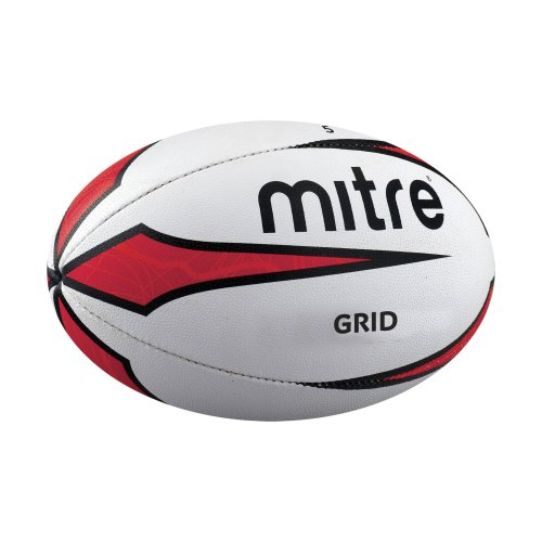 Mitre Grid Training Rugby Ball White Size 4