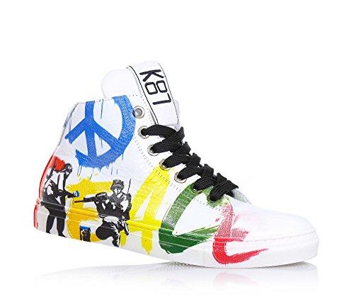 BE KOOL - Sneaker bianca stringata in pelle, ispirata dal mondo dell'arte di strada, con chiusura a zip laterale, occhielli in metallo, Unisex Bambino-38
