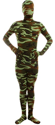 Marvoll Lycra Spandex Camouflage Full Bodysuit Zentai Halloween Costume (Small, Green) (Superhero Spandex Suits)