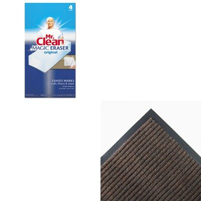 KITCWNNR0046BRPAG82027 - Value Kit - Crown NR46 BRO Needle-Rib Indoor Wiper/Scraper Mat 4' x 6', Brown (CWNNR0046BR) and Mr. Clean Magic Eraser Foam Pad (PAG82027)