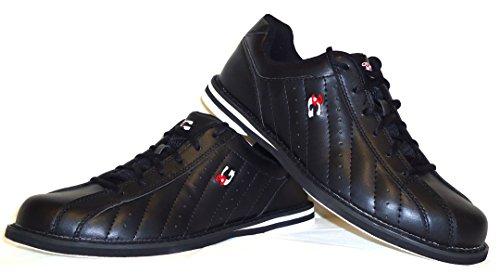 Bowling-Schuhe, 3G Kicks, Damen und Herren, für Rechts- und Linkshänder in 4 Farben Schuhgröße 36-48 (schwarz, 45.5 (US 13))